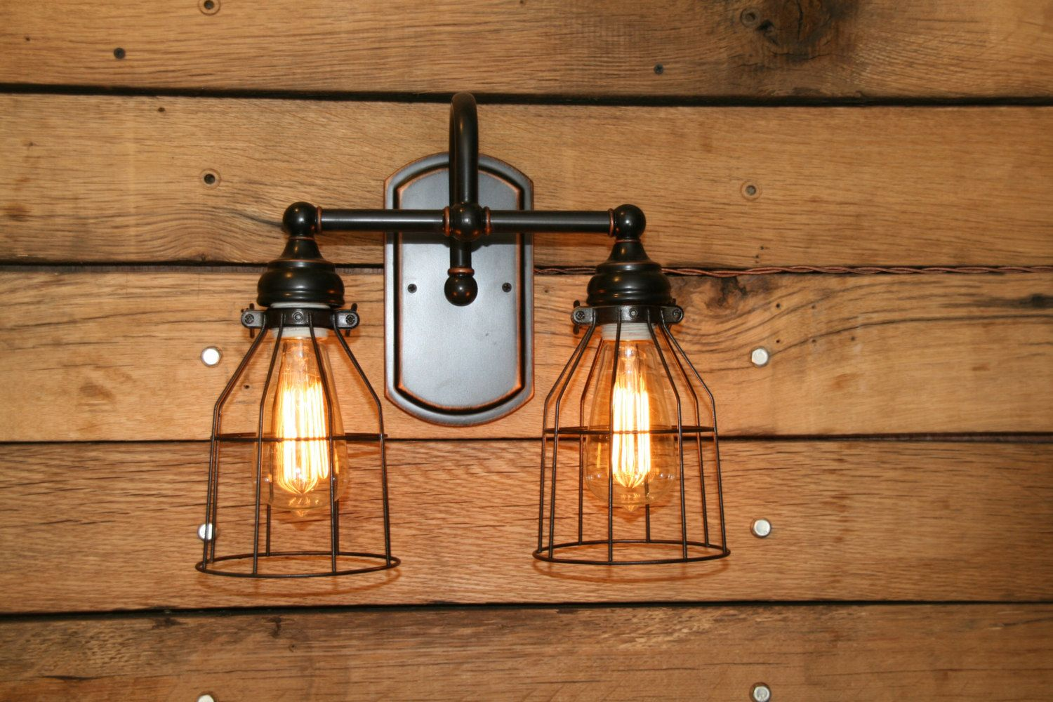 Vanity Light Wall Sconce 2 Bronze Wire Cage by IndustrialRewind ...