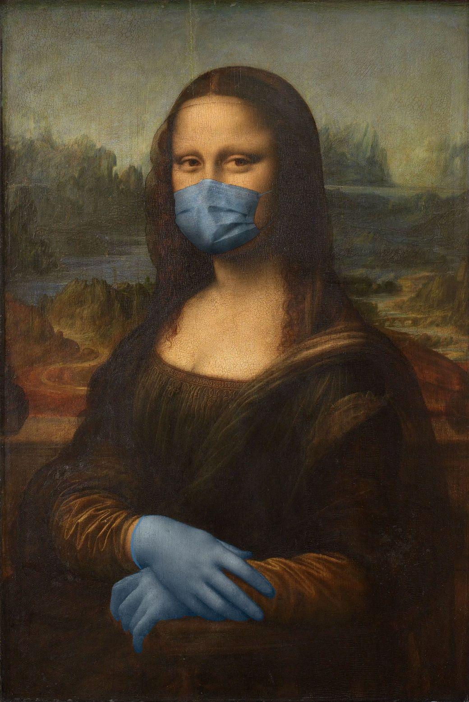 Un estudio de arquitectura pone mascarillas y guantes a los iconos pintura por el COVID-19