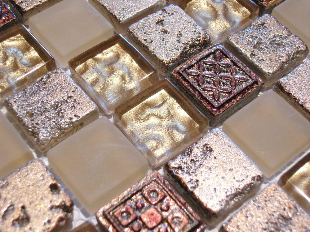 Details zu Glasmosaik Mosaik Fliesen Klarglas metall Ornament Gold ...