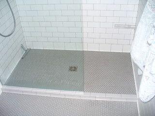 Subway Tile On Shower Enclosure Walls Darker Penny Tile On Floor