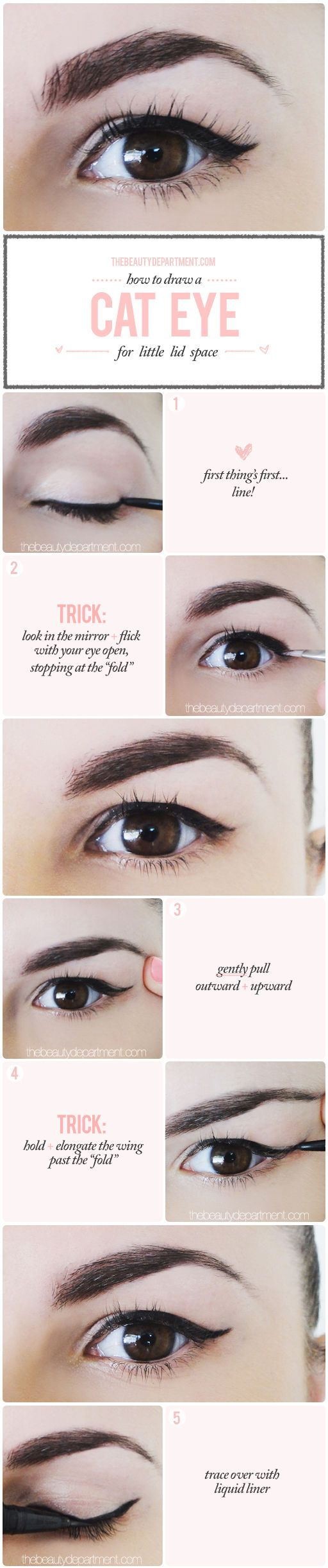 WINGED LINER FOR A DROOPY LID  Winged liner Beauty department and