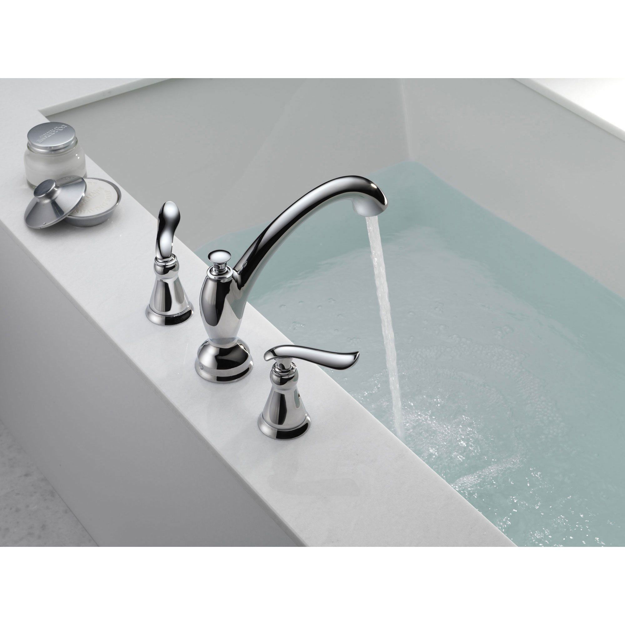 Delta Linden 2 Handle Widespread Chrome Roman Tub Faucet With
