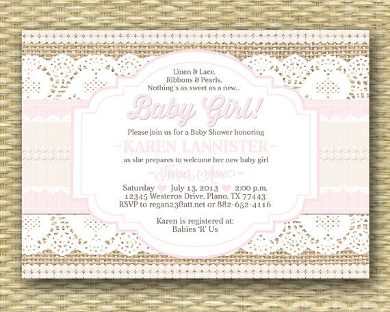 baby shower invitation burlap lace ribbon pearls shabby chic rustic baby girl shower sip and see baby sprinkle any event any colors