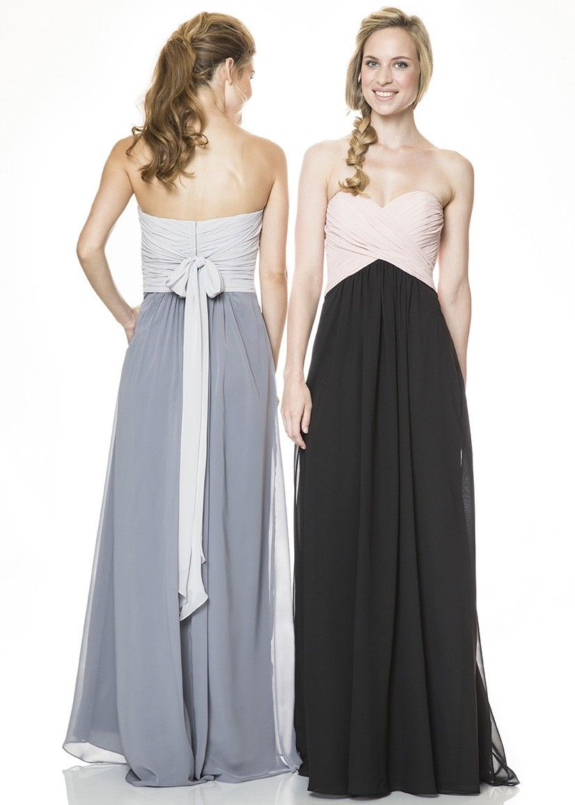 Bari Jay 1517 Strapless Bella Chiffon Two-tone Long Bridesmaid Dress ...