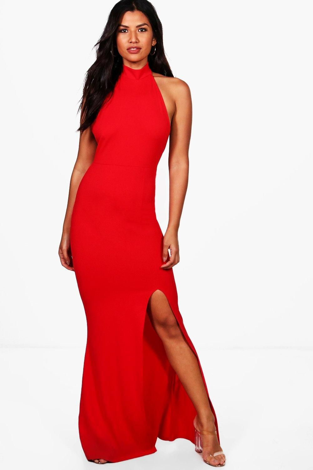 ca3e6202c7e7 Click here to find out about the High Neck Extreme Split Front Maxi Dress  from Boohoo, part of our latest Homecoming Dresses collection ready to shop  online ...