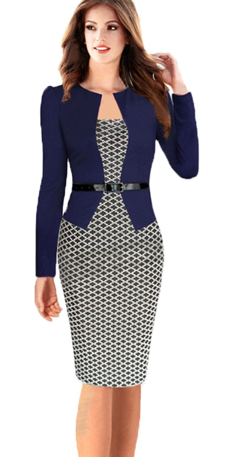 818dc25c470 Babyonline® Women Colorblock Wear to Work Business Party Bodycon One-piece  Dress…