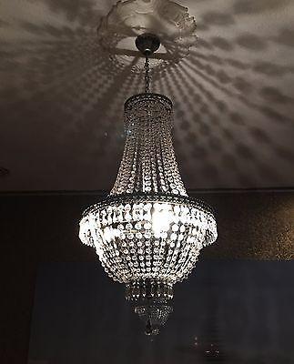 Kronleuchter Kristall 75cm Höhe Korbleuchter Deckenlampe Hängelampe - deckenleuchten wohnzimmer landhausstil