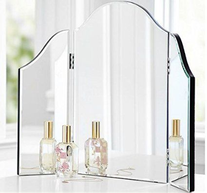 Bathroom Counter Trifold Vanity Table Mirror Bedroom Dresser Makeup Folding Mirror Tri Fold Mirrored Glass