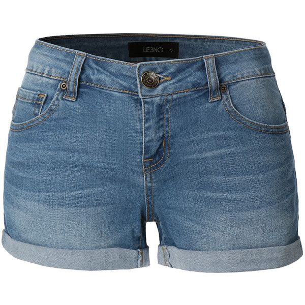 LE3NO Womens Cuffed Medium Rise Denim Shorts ($25) ❤ liked on Polyvore featuring shorts, bottoms, pants, short, denim, stretch shorts, stretchy jean shorts, cuffed jean shorts, mid rise jean shorts and denim short shorts