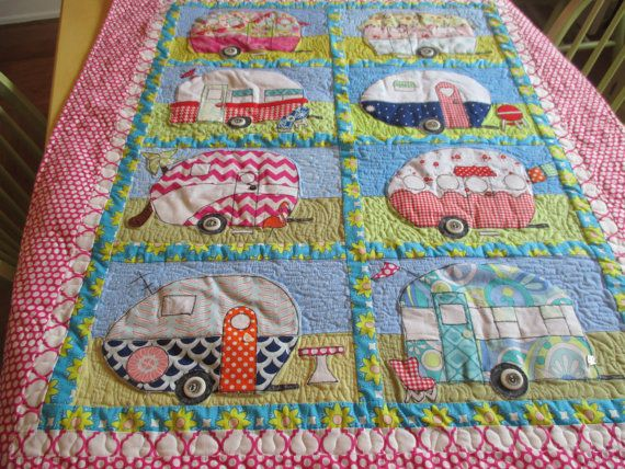 Summertime Wall Hanging Retro Camper Wall by bungalowquilts