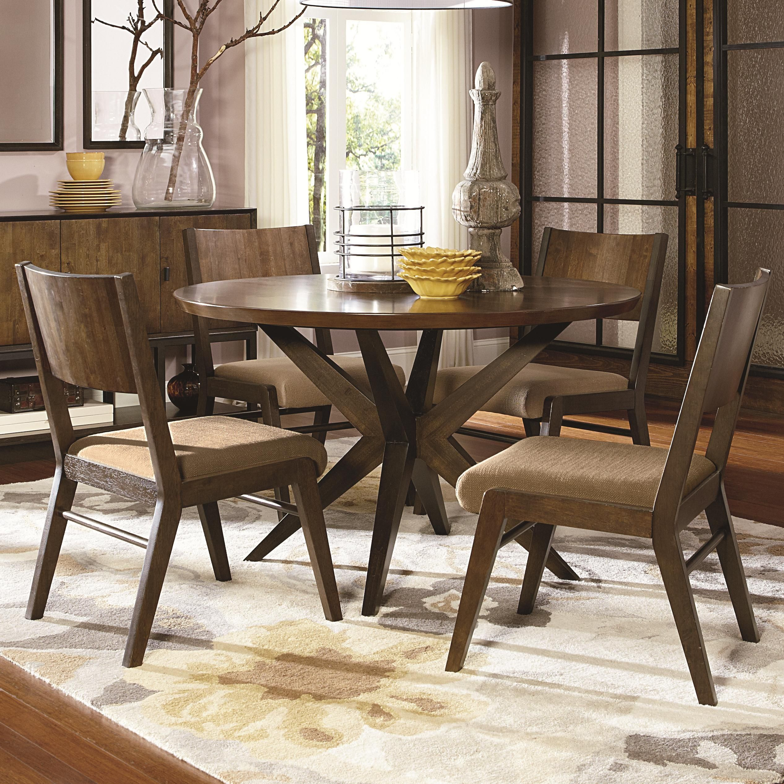 Kateri 5 Piece Pedestal Table and Wood Back Chairs Set by ...