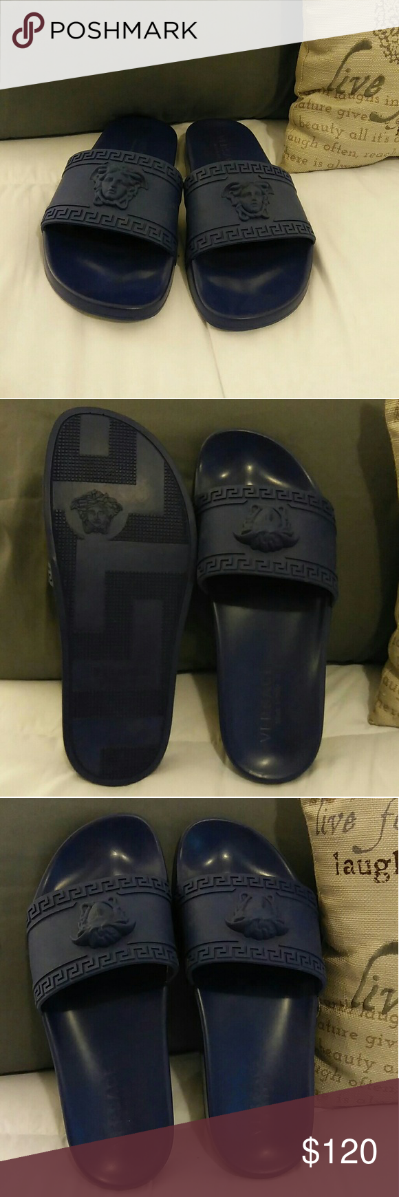 ae0682f026a95 Men s slippers Men s VERSACE (replica) slippers.... Worn once... Still like  new... They just been under my bed.....! Versace Shoes Sandals   Flip-Flops