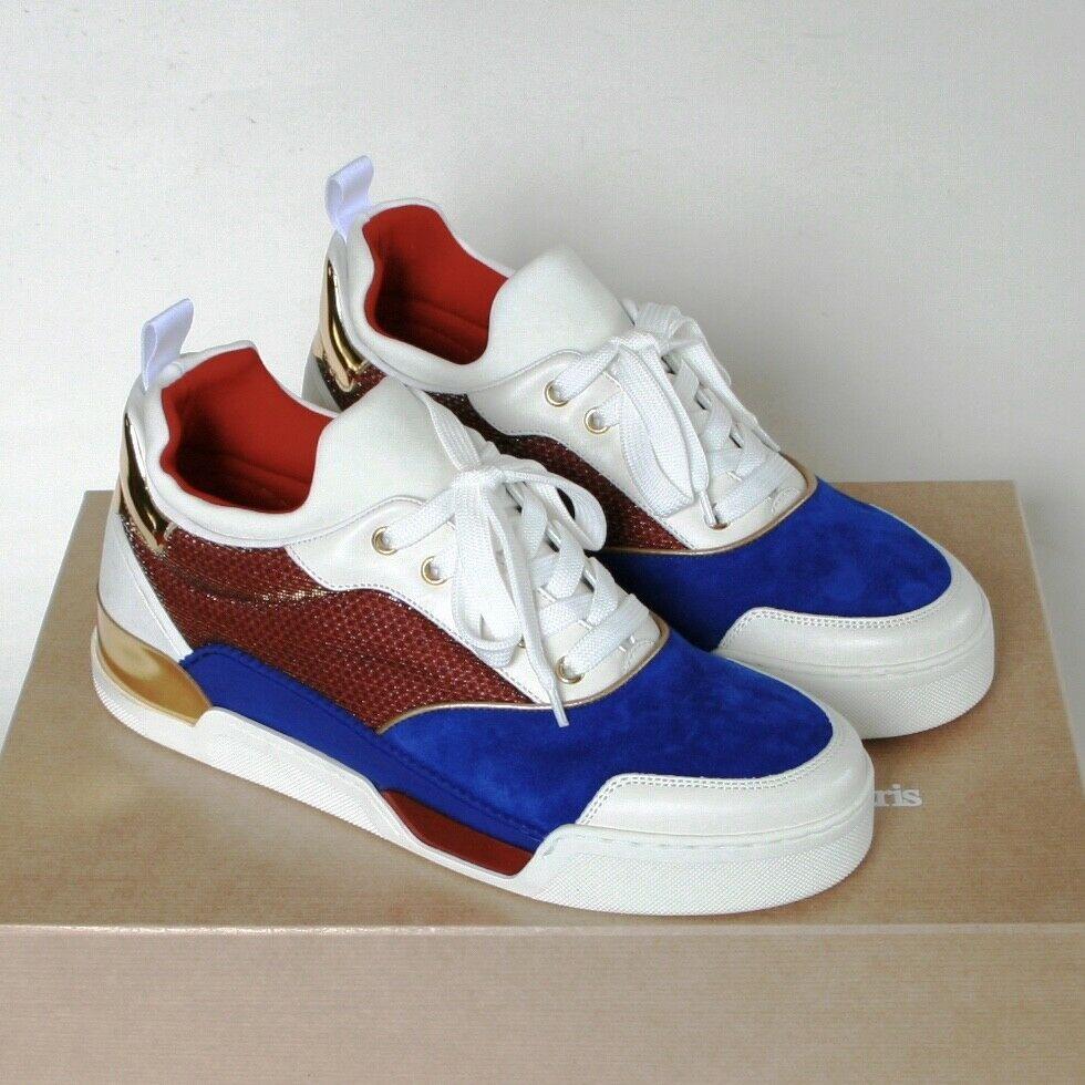 325f36b1028 CHRISTIAN LOUBOUTIN low top shoes Aurelien blue red gold trim ...