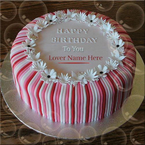 Write Name On Flower Wedding Birthday Cake For Lover Happy Birthday