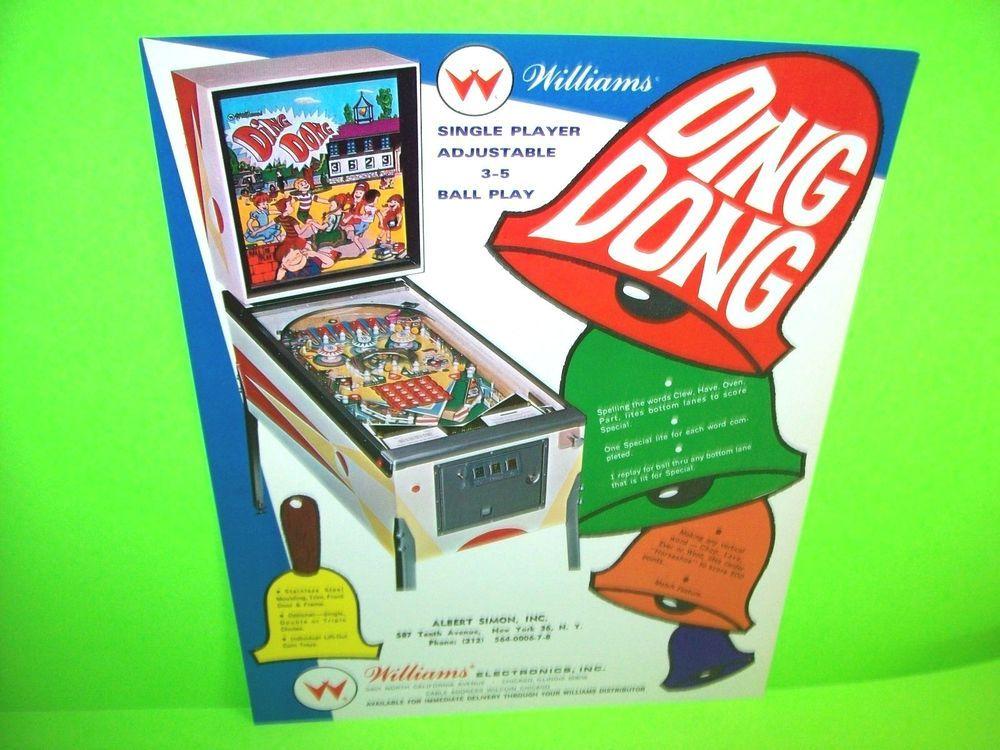 Williams DING DONG Original 1968 NOS Flipper Game Pinball ...