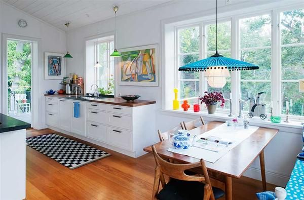 Swedish home with a mixed style | Colorful kitchen decor, Kitchen ...