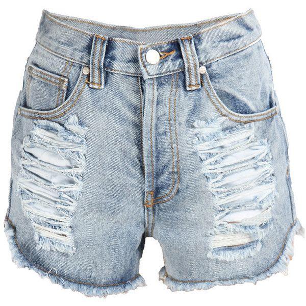 SLASHER FLICK Cutoff Denim Shorts (255 BRL) ❤ liked on Polyvore