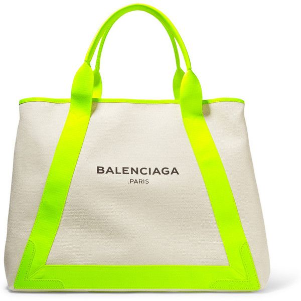 7d4f845de237 Balenciaga Cabas leather-trimmed canvas tote ( 715) ❤ liked on Polyvore  featuring bags