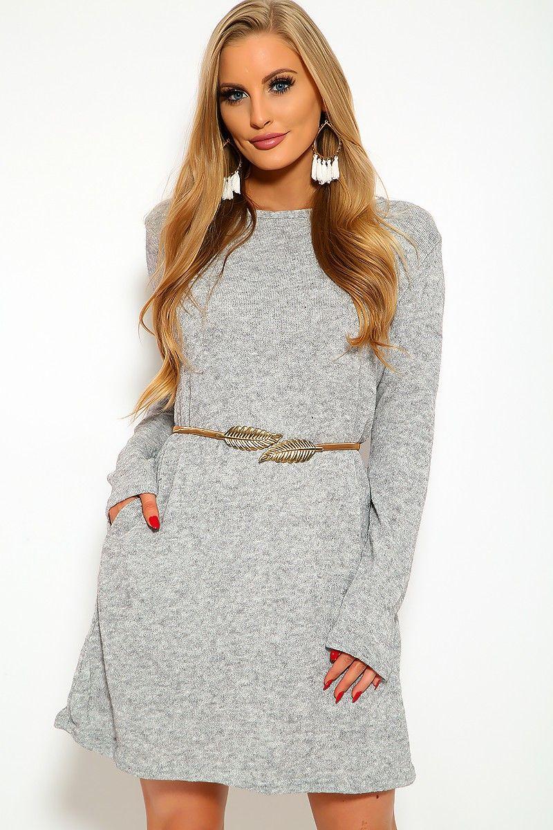 3b8c4cd262cd Heather Grey Long Sleeve Sweater Dress   AMICLUBWEAR   Long sleeve ...