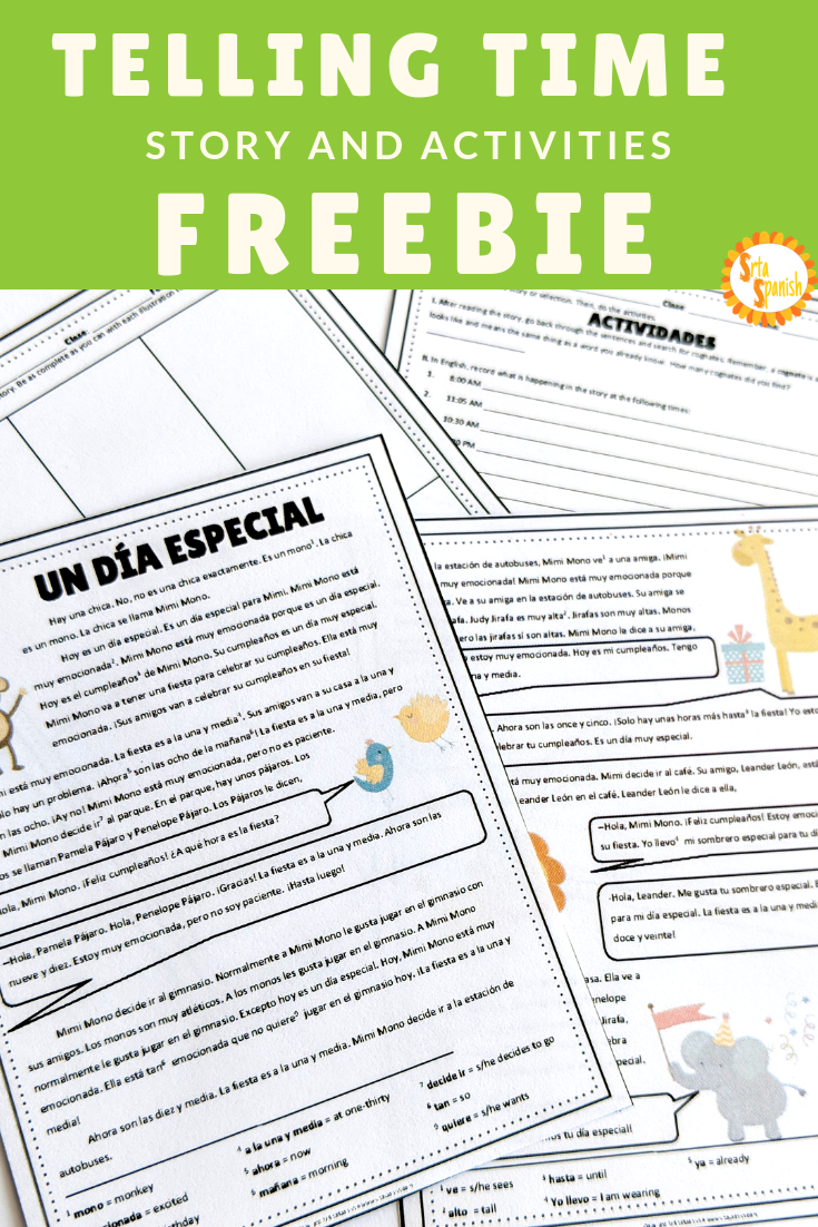 free story and activities for practicing time in spanish