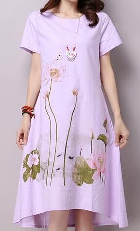 bac6ca2e5 Gender: Women Neckline: O-Neck Silhouette: Loose Material: Linen,Polyester  Sleeve Length(cm): Short Style: Chinese Style Sleeve Style: Regular  Decoration: ...