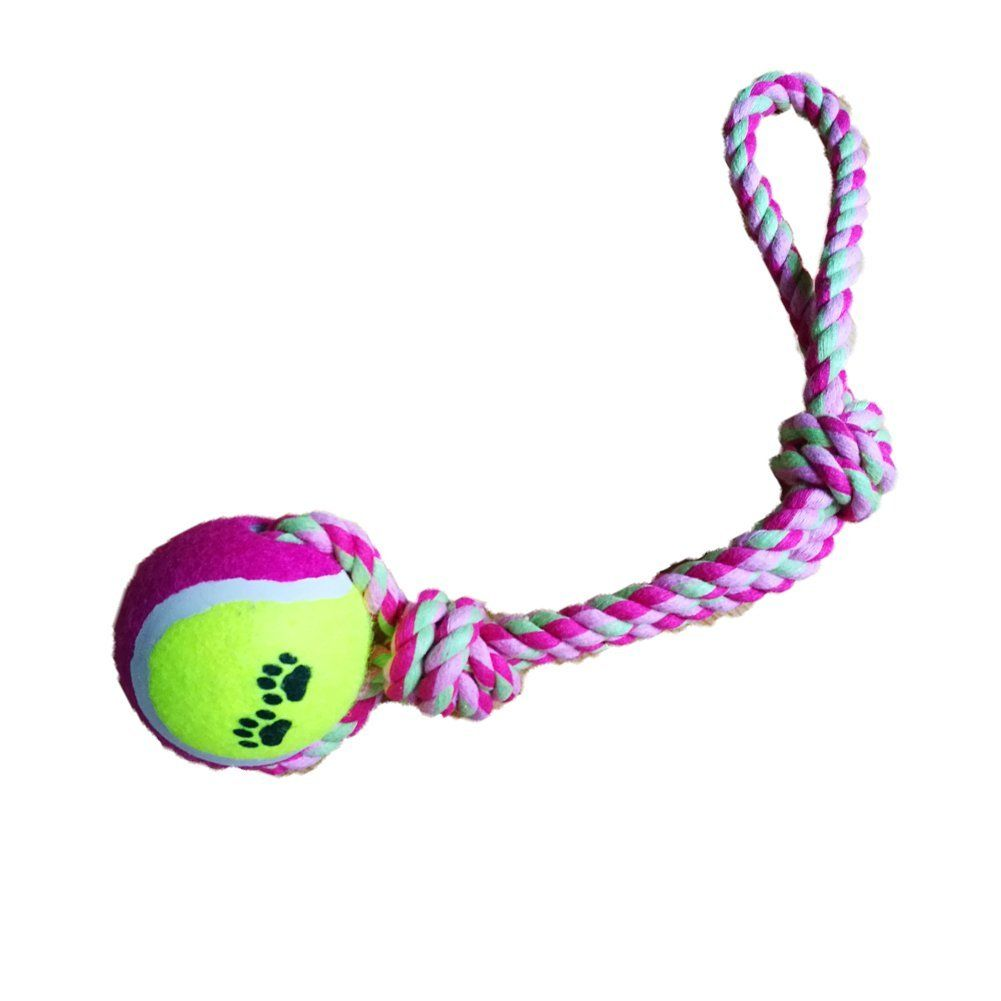 Tennis Ball With Rope Pet Toys For Cats And Dogs To Play 2pcs