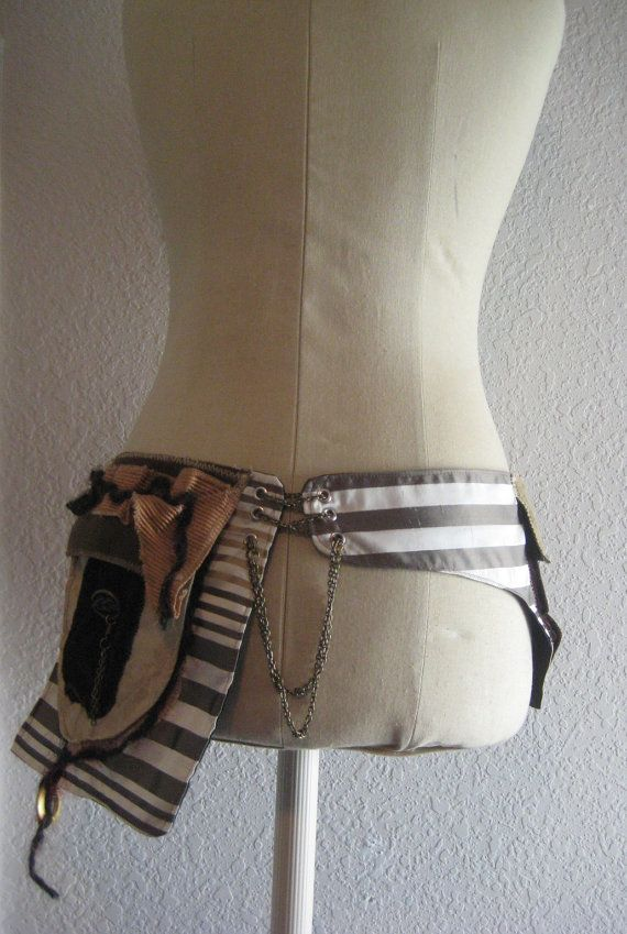 READY TO SHIP Mystical Magic Potion Steampunk Utility Belt Holster Gold Bronze Olive Cream Stripes Pockets Jewelry Chains Corset Cinch Chain. $52.00, via Etsy.