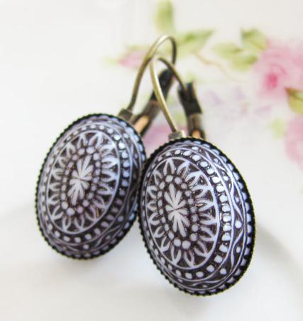 Oval Shaped Vintage Mosaic Beads -Black Earrings