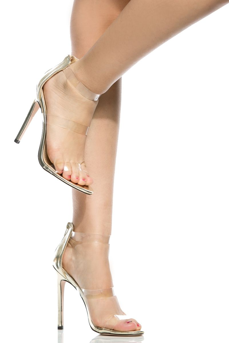 5e4a62919f47 Gold Faux Leather Clear Multi Strap Heels   Cicihot Heel Shoes online store  sales Stiletto Heel Shoes