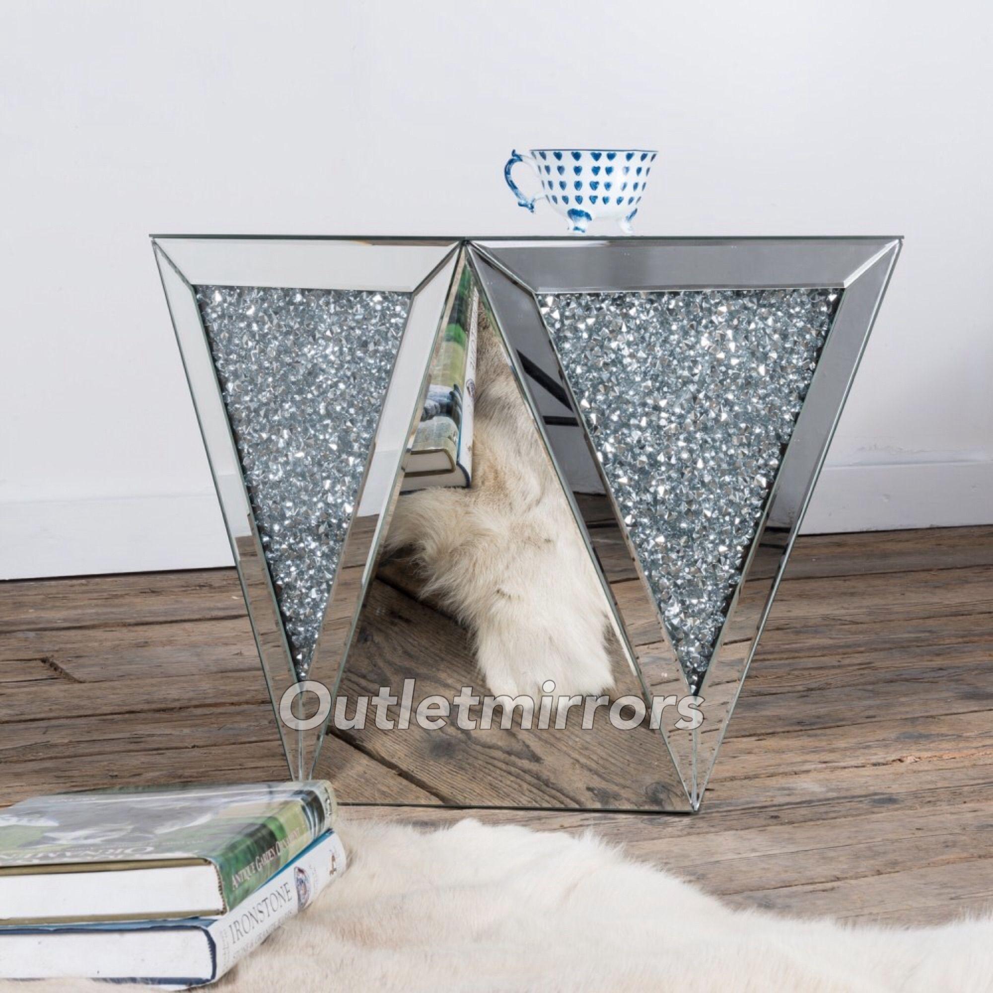 New Diamond Crush Sparkle Crystal Mirrored Lamp Table Mirrored Furniture Venetian Glass Mirror Glitter Furniture [ 2000 x 2000 Pixel ]