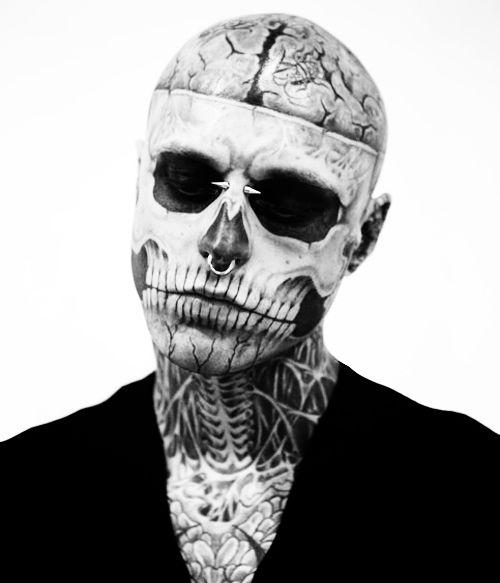 Half Skull Halloween Look Rick Genest Halloween Makeup Scary Cool Halloween Makeup