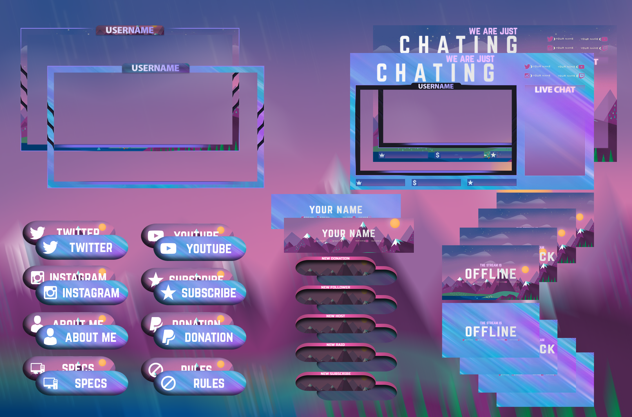 Twitch Overlay Gaming Design Logo And Screen For Streamers Game Design Twitch Book Design Layout