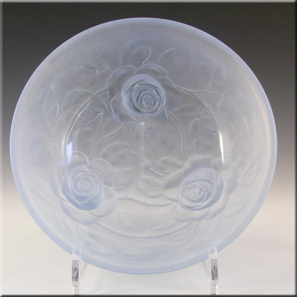 Jobling 1930's Blue Art Deco Glass Lambton Rose Bowl #10000 - £30.00