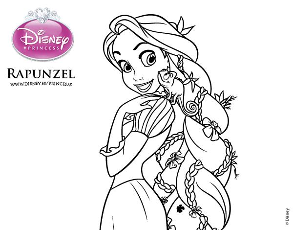 Dibujo De Enredados Rapunzel Y Pascal Para Colorear Disney