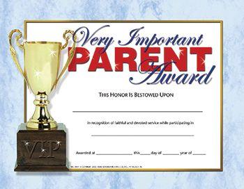 parent appreciation certificate  Parent Award Certificates | ... Publishing H-VA641 Very Important ...