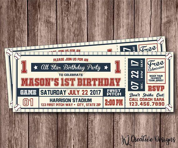 Baseball Ticket Birthday Invitation  Baseball Birthday