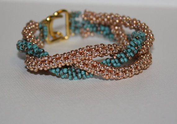 Copper and Turquoise Woven Beaded Bracelet Original Design