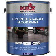 Kilz 1 Part Epoxy Acrylic Interior Exterior Concrete And Garage Floor Paint Satin 1 Gal Walmart Com Garage Floor Paint Painted Floors Garage Floor