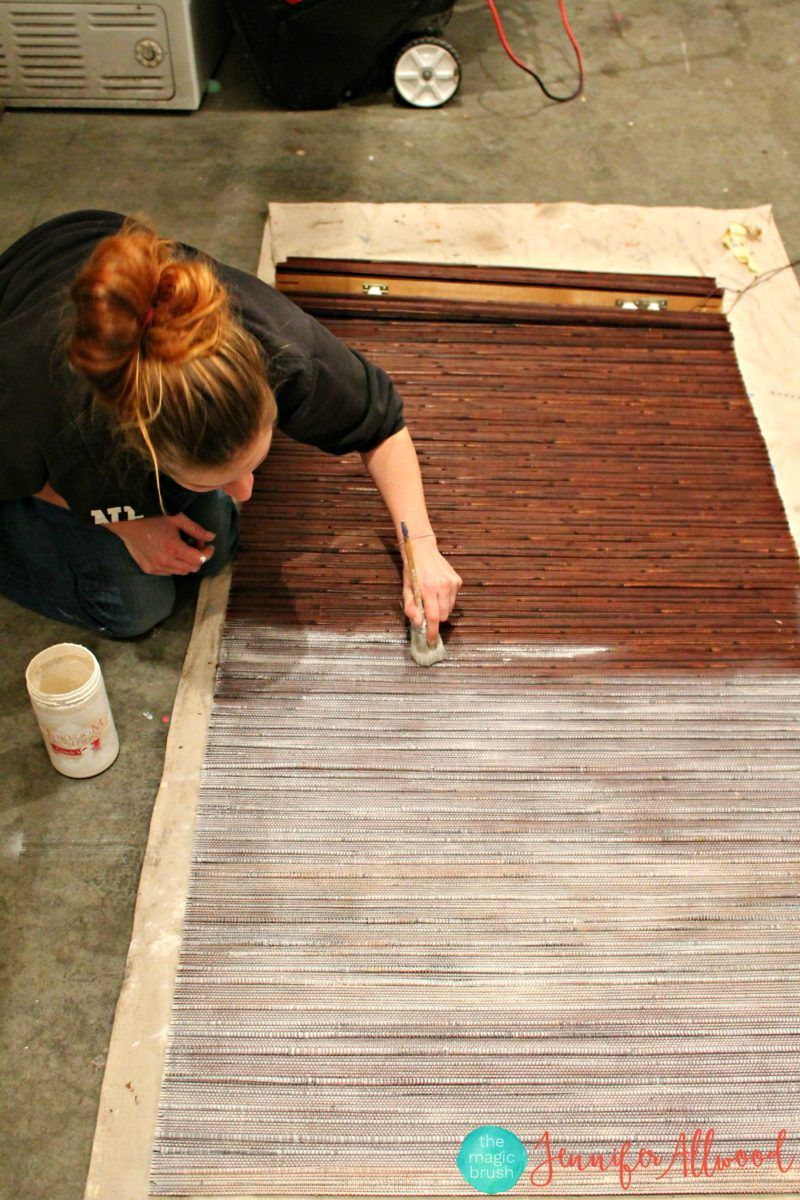 Painting Blinds From Bamboo To White Magic Brush Painting Blinds Bamboo Blinds Bamboo Blinds Diy