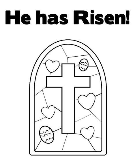 Easter Coloring Page He Has Risen Stain Glass CrossChurch