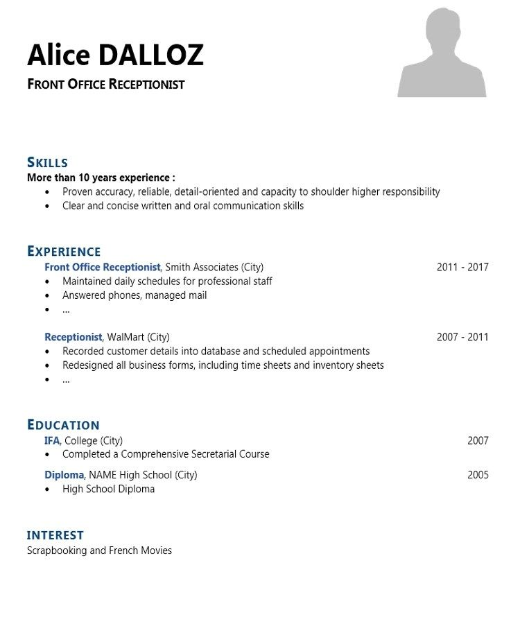 Awesome cv receptionist template ideas in 2020 front