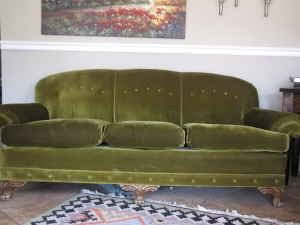Amazing Vintage Mohair Green Couch Sofa Excellent Condition