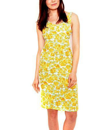 Look at this #zulilyfind! White & Yellow Floral Empire-Waist Dress #zulilyfinds