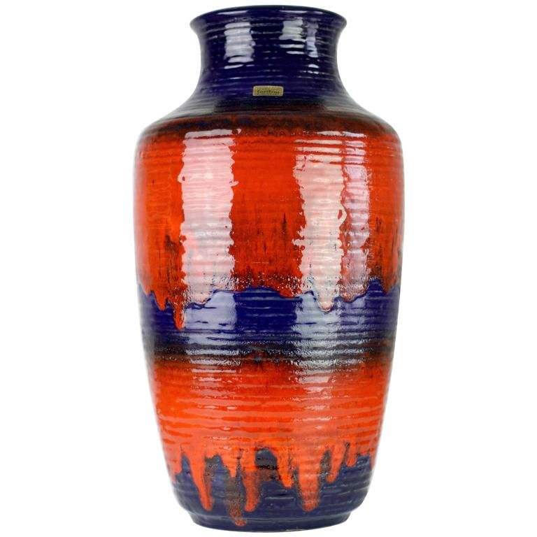1960s Large Red And Blue Glazed West German Pottery Floor Vase By
