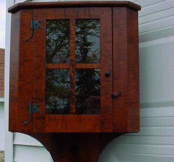 Tiger Maple Hanging Corner Cupboard with Hand Forged Rat ...