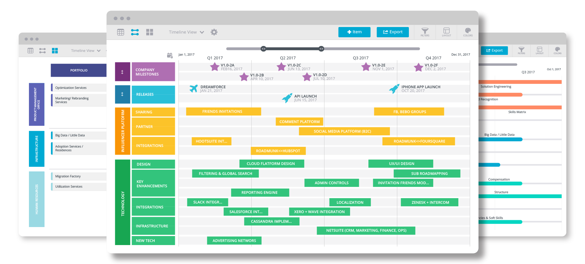 create beautiful product roadmaps quickly drag drop functionality export your roadmaps into formats