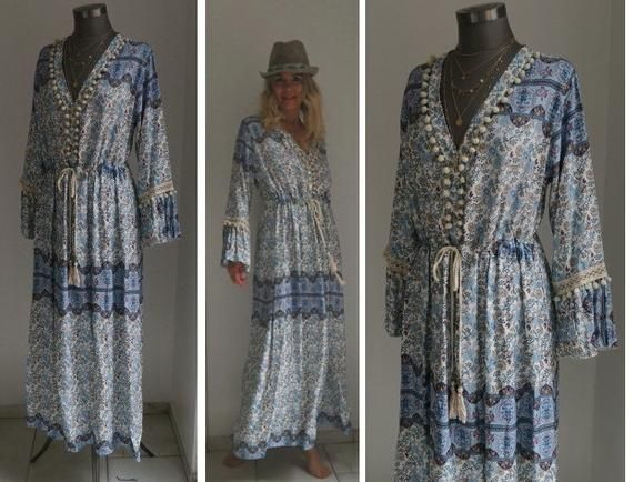 Boho Kleid, Hippie Kleid, Kleid Ibiza, Ethno Ikat Kleid ...