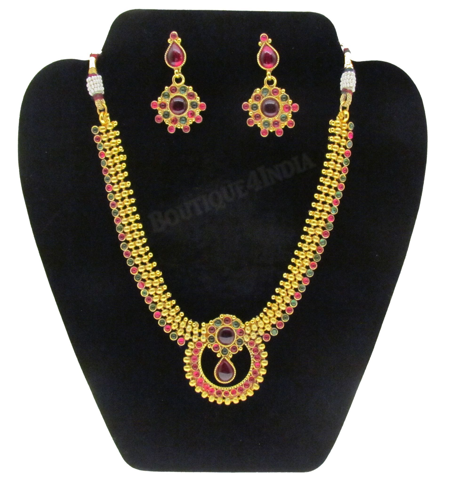 Elegant red and green kundan polki set with stud earrings products