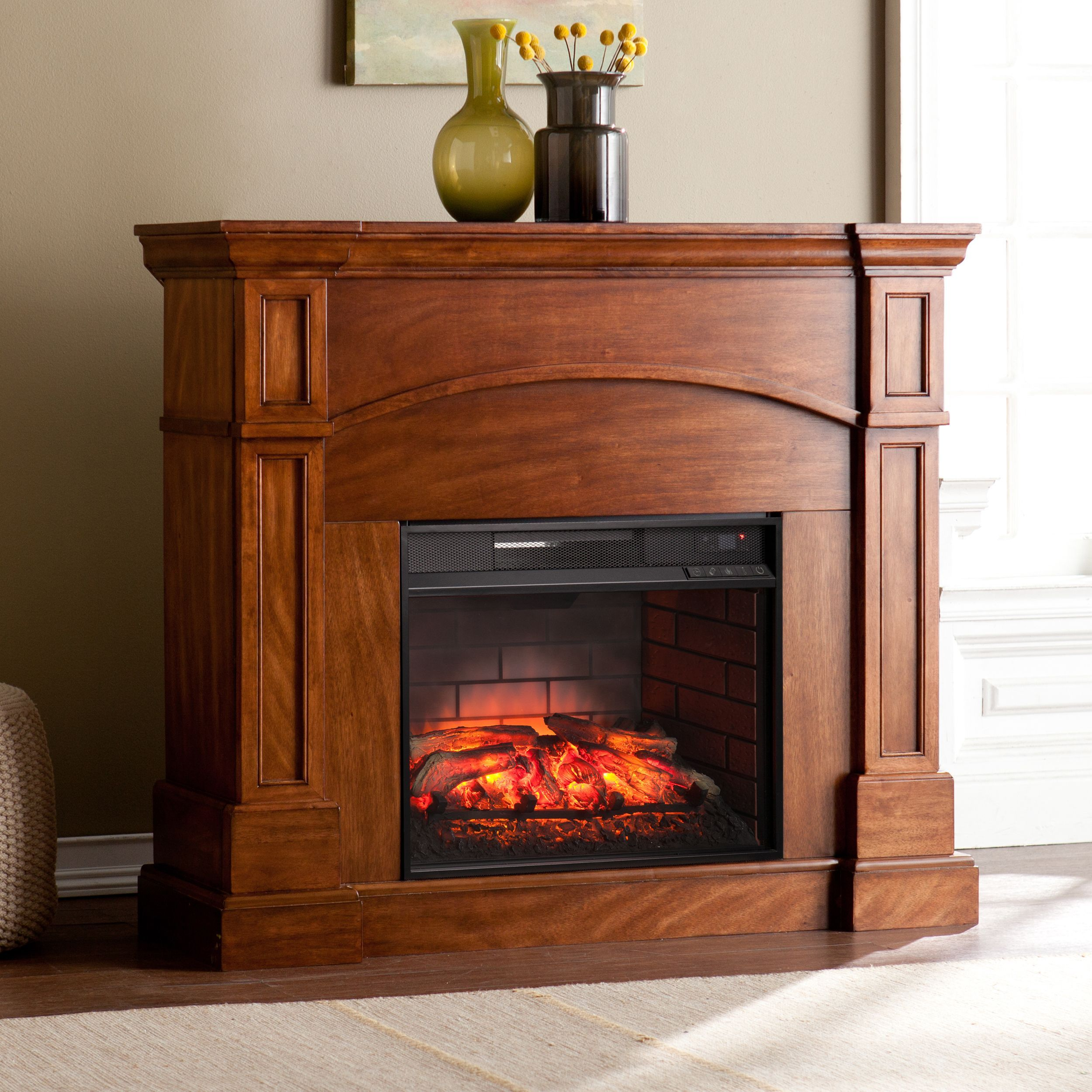 Fireplace amp tv stand in premium cherry finish with 23ef025gra electric -