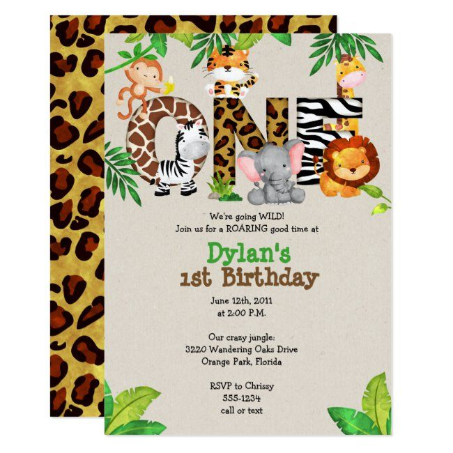 Jungle 1st Birthday Party Invitations   Zazzle com - 1st birthday party invitations, 1st birthday parties, 2nd birthday parties, Party invite template, 1st birthday invitations, Birthday invitations - GO WILD! This jungle animal invitation will have your guests roaring with excitement for your little one's big day! Jungle Animals 1st Birthday Party Invitation by Whirlibird